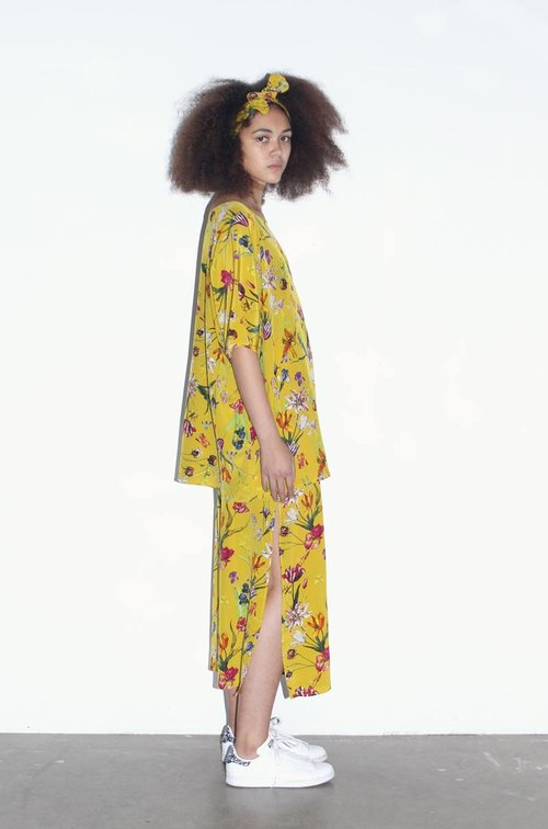 cb31e1f9802 Yellow Tulip Garden Silk Tunic Shirt