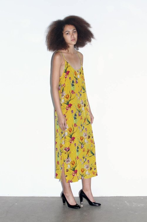 fc63f62490c Yellow Tulip Garden Silk Slip Dress