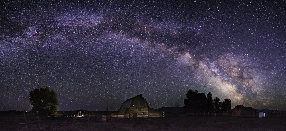 Milky Way Panorama with the John Moulton Barn in the Grand Tetons in the foreground