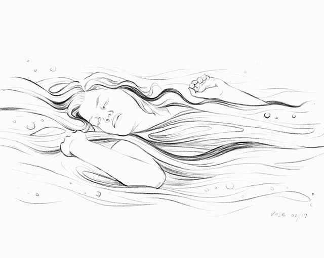 Drift away and dissolve 🌊 . . . . #graphite #sketch #wip #artist #procreate #ipadpro #drawing #adrift #portrait #ophelia