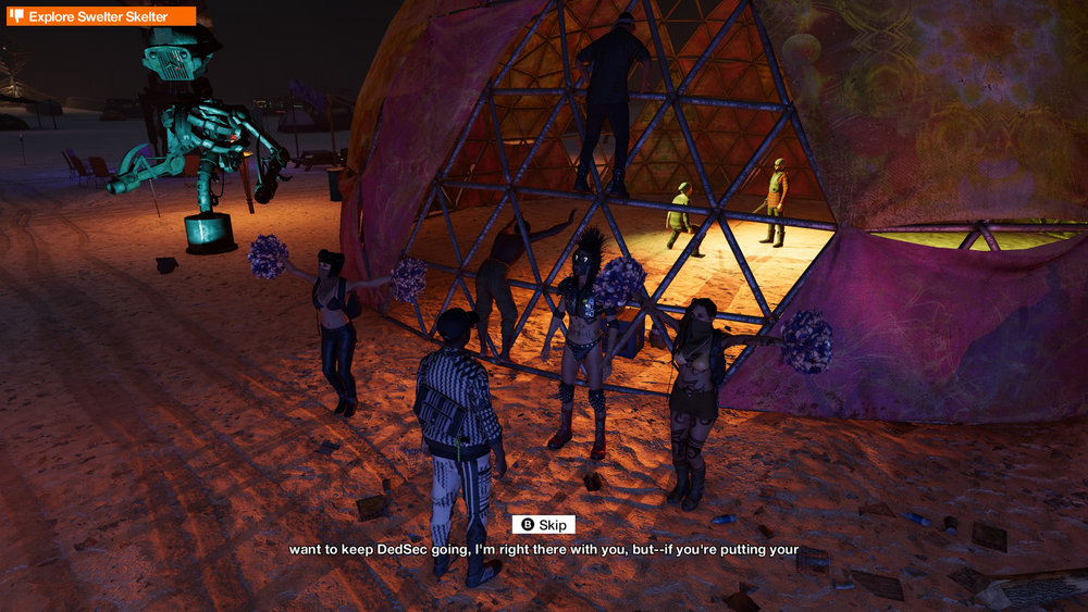 "Yeah, the hackers go to a ""Burning Man"" style festival.  Some weird stuff goes down there."