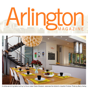 "Arlington Magazine Dream Homes ""A white-oak dining table, built by furniture maker Caleb Woodard, balances the kitchen's industrial finishes."""