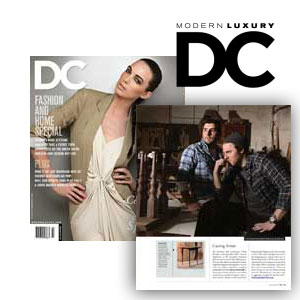 "DC Magazine Where Did You Get That? March/April 2010 ""The furniture that woodworker Caleb Woodard and hairstylist Kelly Gorsuch hand-built to fill Gorsuch's Immortal Beloved salon was met with wild response."""