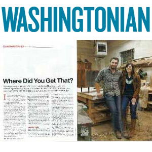 "Washingtonian Magazine Where Did You Get That? August 2010 ""Woodard's approach may seem to reflect a back-to-basics sensibility, but rustic Americana his furniture is not."""