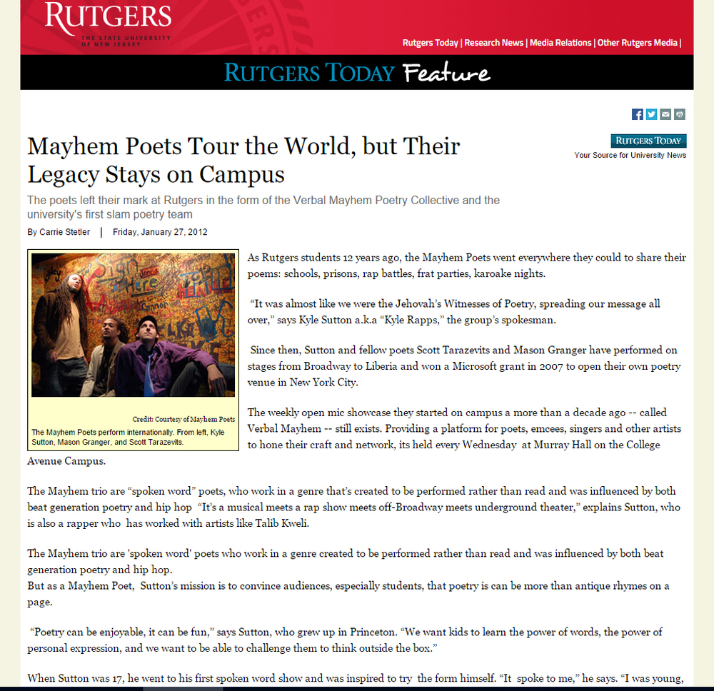 Mayhem Poets Rock Rutgers