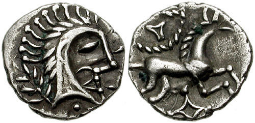 This coin from the Iceni tribe shows a man with hair spiked up much like a horse's mane. The goddess Epona was represented as a horse, and spiking up your hair like a horse's mane was another way to look fierce and prepare for battle. Photo: CNGcoins.com