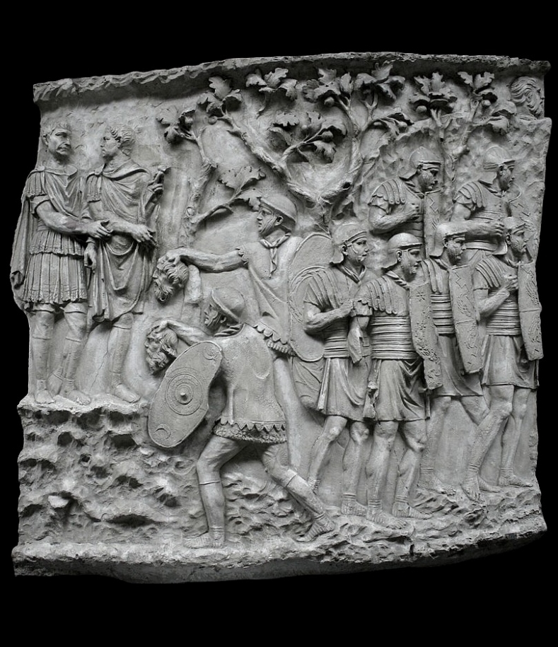 Auxilliaries presenting heads to the emperor. Picture: By Cassius Ahenobarbus - Own work, CC BY-SA 3.0, https://commons.wikimedia.org/w/index.php?curid=25616733