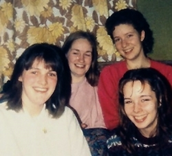 At university with friends, Dawn, Bess, Kathy and a hideous curtain.