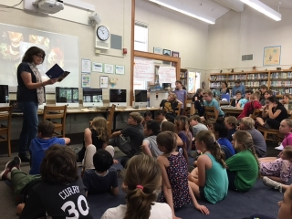Reading to 4th and 5th graders in Old Mill School library, Mill Valley.