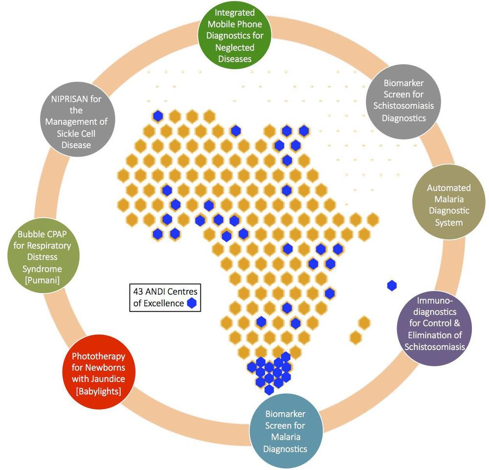 Figure IV: ANDI Portfolio – specific projects are circled. 43 ANDI pan African Centres of Excellence are shown in blue. These centres support project and capacity building. ANDI's innovation awards and needs assessment initiatives are not shown.
