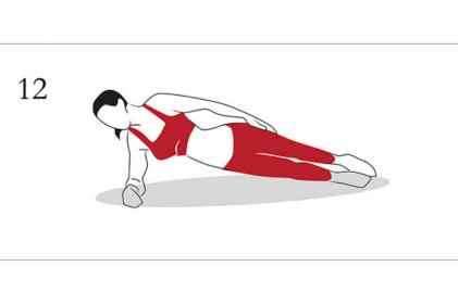Side Plank  30sec x 2.  Here is the finisher. Lay on your side, and tuck your arm down into your ribs. This way, when you drive your body upwards using the weight of your arm, you'll create a natural 90degree angle and will take a load of pressure of your shoulder.