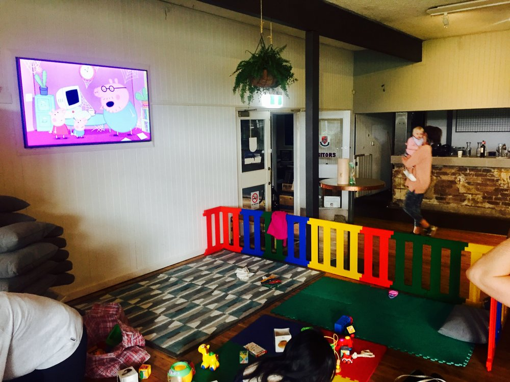 Our indoor creche. Complete with kids TV.
