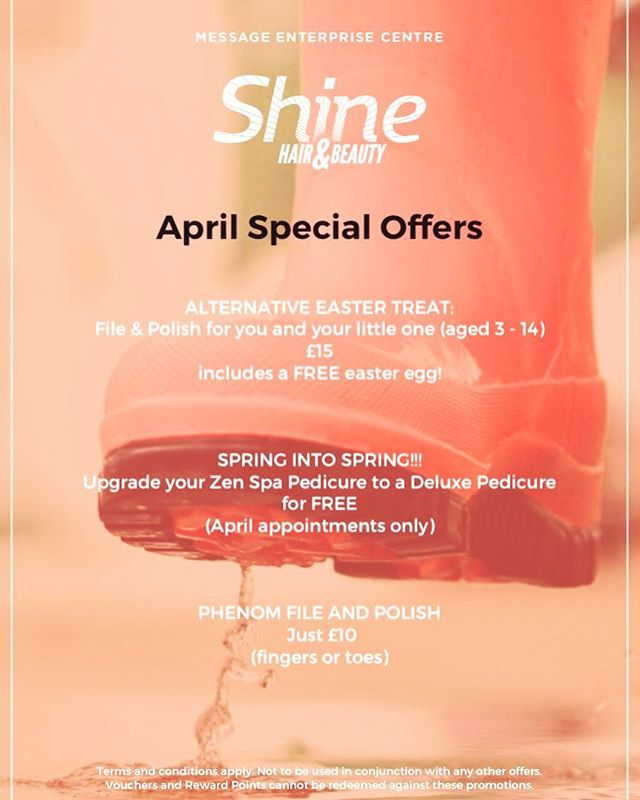 Offers in salon throughout April 🤩 get booked in ASAP to avoid disappointment  #shinemec #manchestersalon #beautyoffers