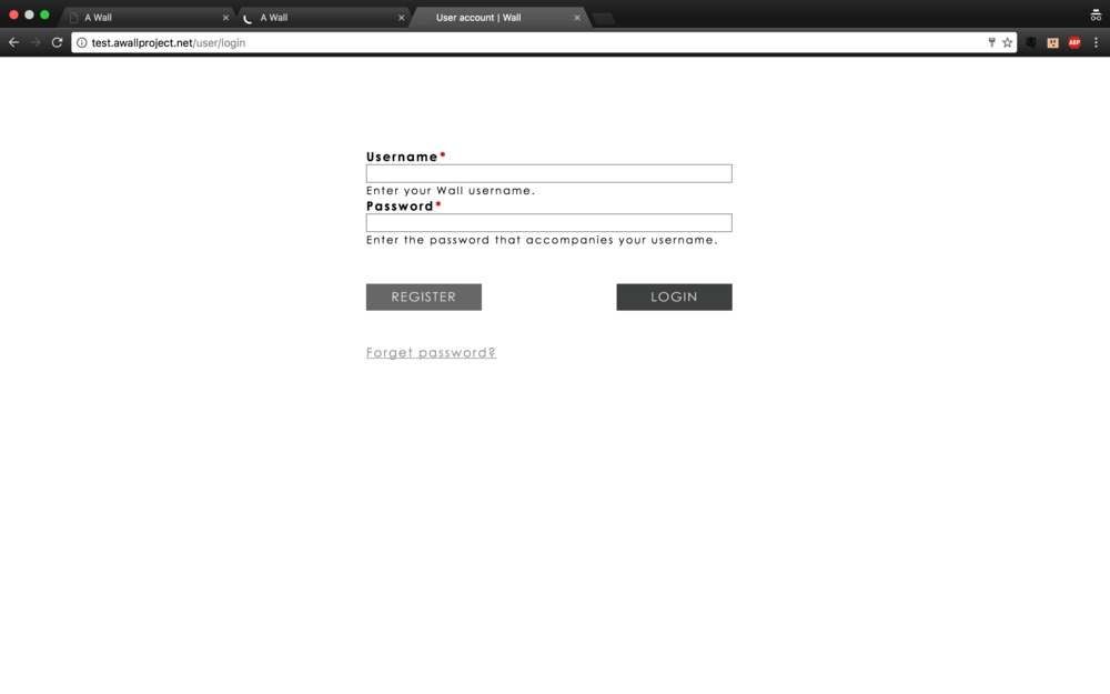 Personal login page