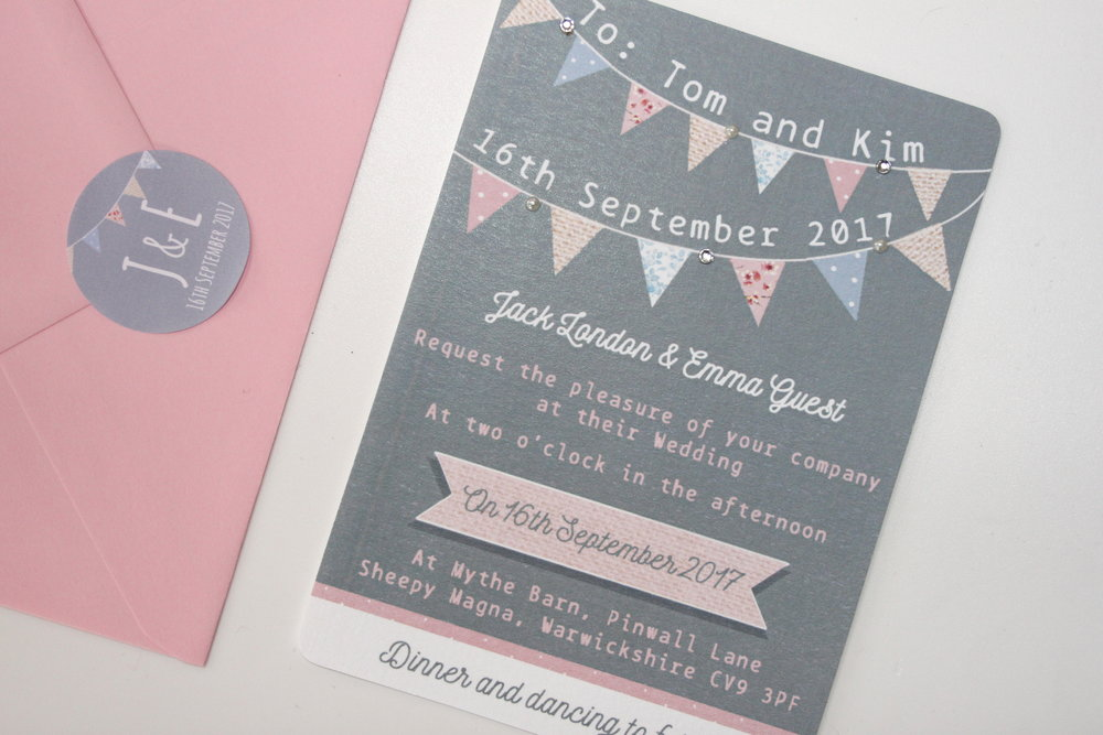grey and pink bunting a6 invitation bundle lovingly handmade