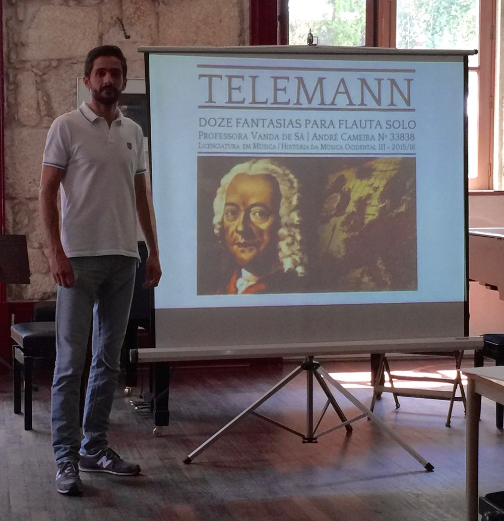 Flutist André Cameira presenting his seminar on the Telemann Fantasias at the 4th Summer Flute Academy