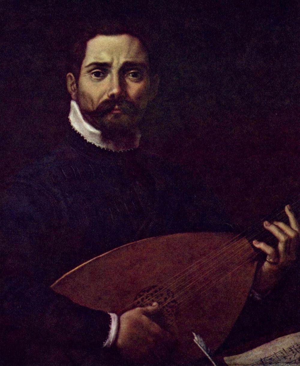 Master Italian composer Giovanni Gabrieli, with lute