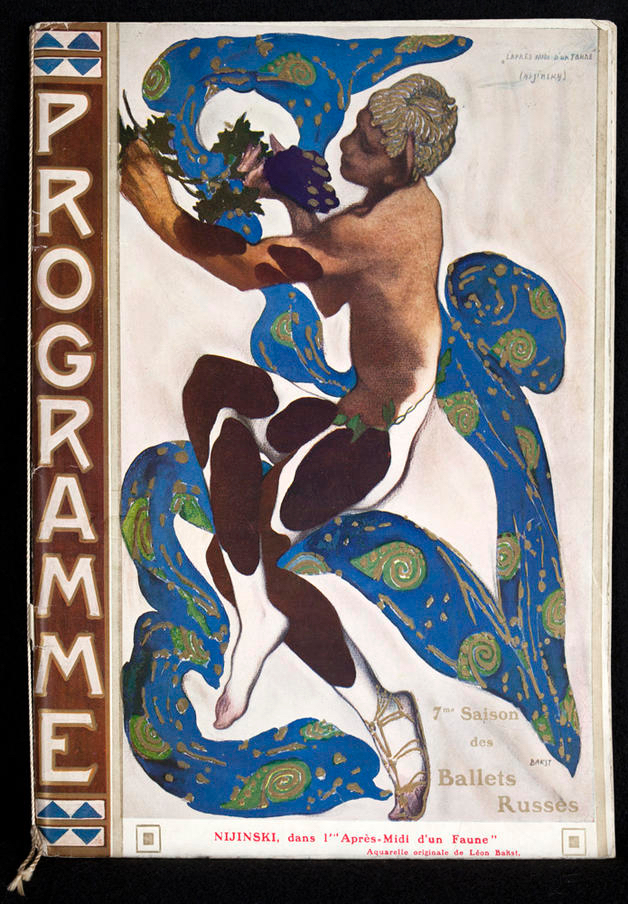 Leon Bakst's famous program cover for the 1912 premier by the  Ballets Russes , with Nijinsky as the Faune.