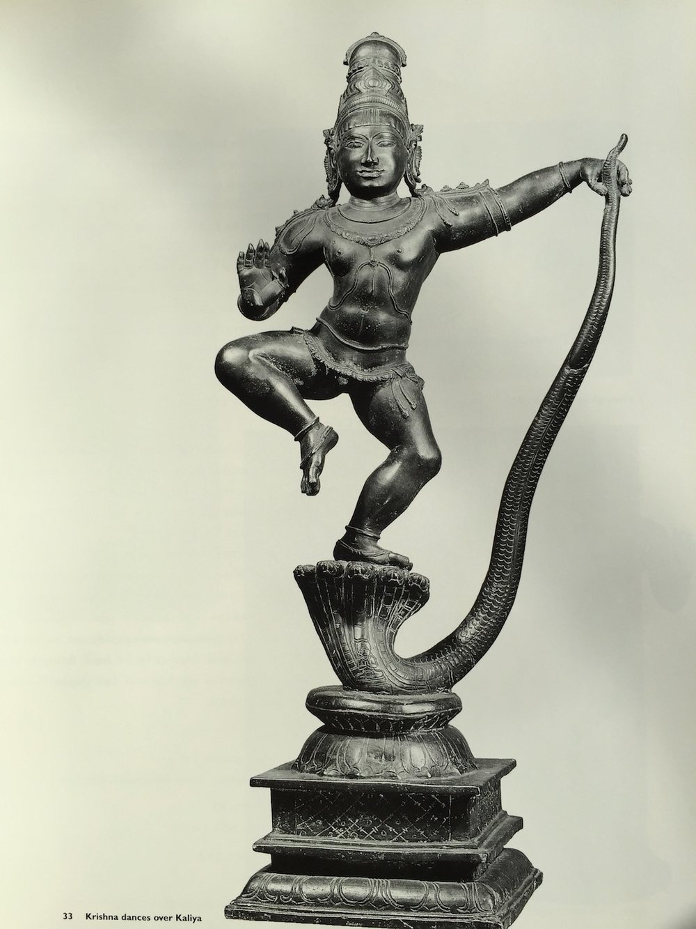 "Krishna dancing over Kaliya; from the book ""Dancing to the Flute"", published by the Art Gallery of New South Wales."
