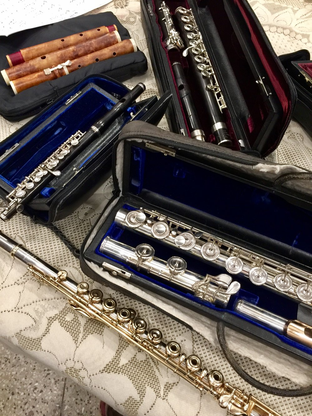 Powell Flutes, unpacked and ready to go, plus a lovely Soubeyran traverso!