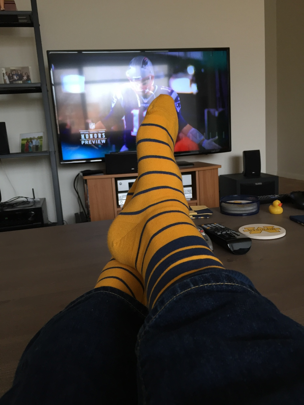 A shameless excuse to post my maize and blue socks from  Nice Laundry .