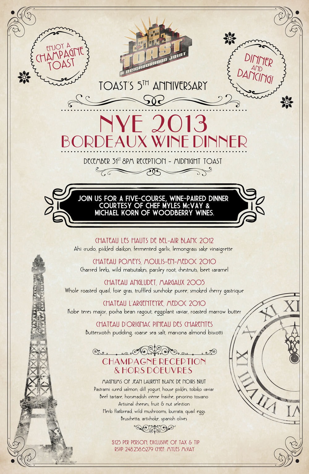 New Year's Eve Special Menu