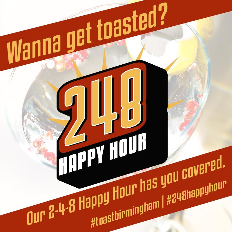 2-4-8 Happy Hour Promo social post