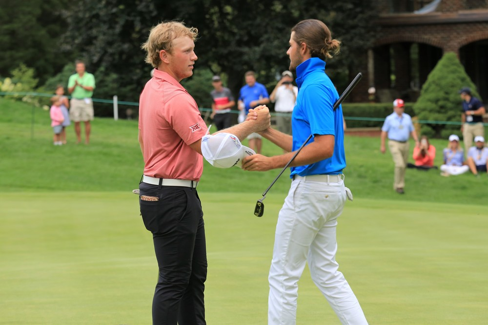 Brad Dalke shakes Curtis Luck's hand after Luck defeated Dalke, 6 and 4.  Photo courtesy of Rebecca Lough.