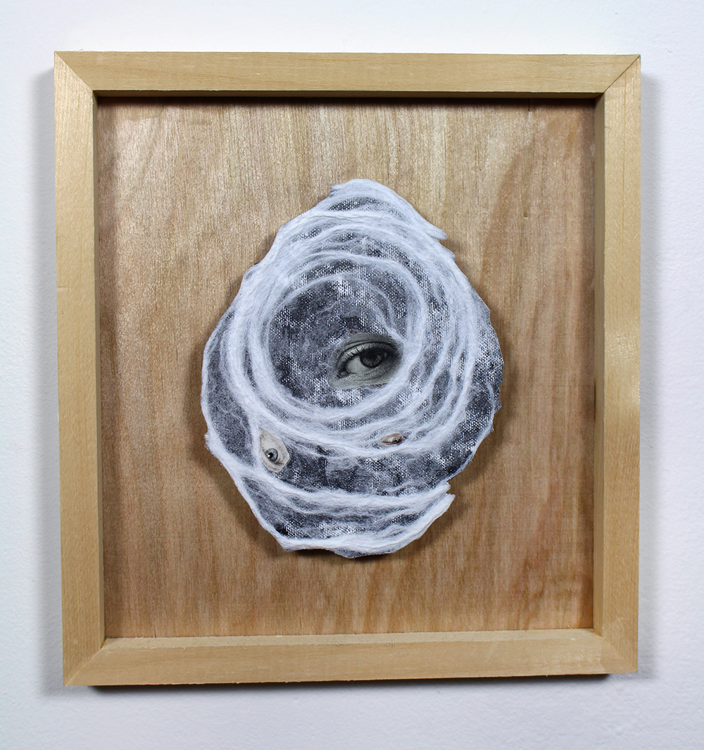 """Transcendental Body: 20"" Found Images, Paper Pulp, Wood 2014"