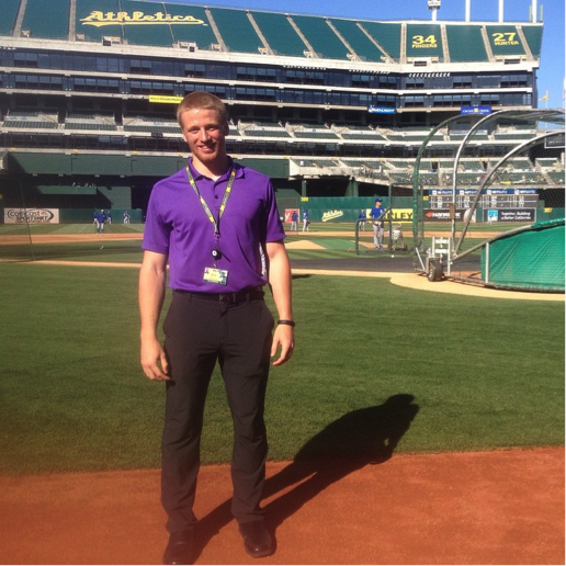 Travis enjoying his time working for the Oakland A's!