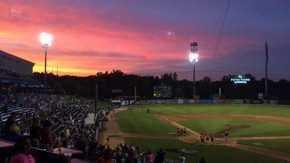 The sunset as the power returned to Fifth Third Ballpark. Photo Courtesy of Lauren Benda