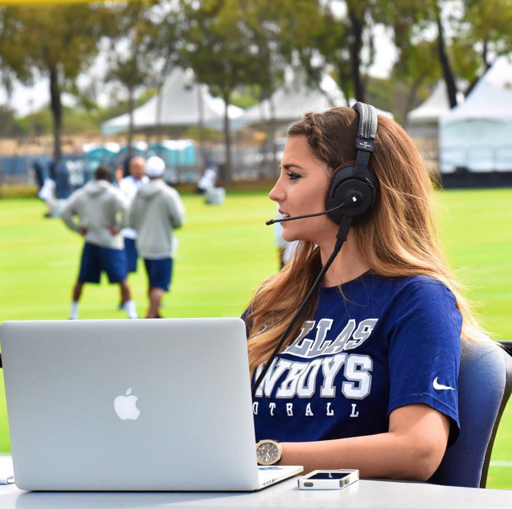 Taylor's on camera experience has allowed her to be able to wear multiple hats for the Cowboys.