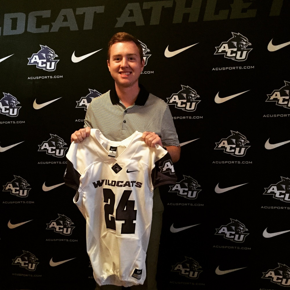 Todd Rogers showing off the ACU football jersey!