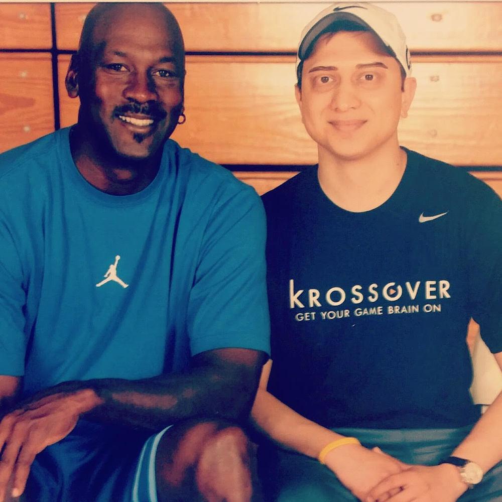 Vasu Kulkarni, Krossover Founder and CEO, with Michael Jordan
