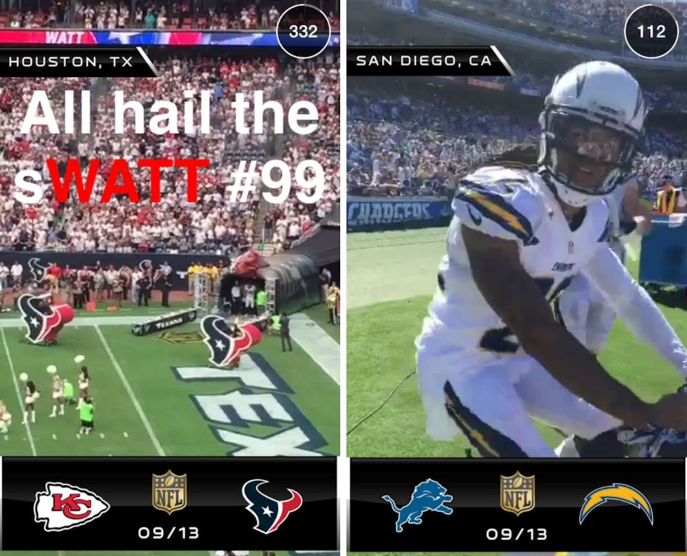 Examples of how Snapchat was used during the 2015 season. All 256 regular season games will have customized Geofilters. Photo via theverge.com.