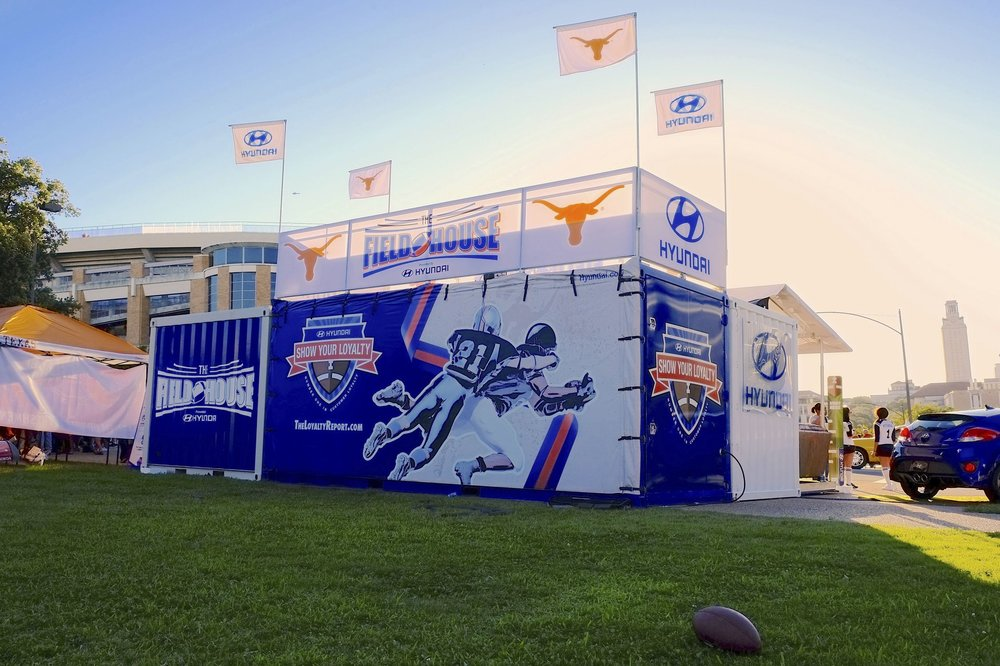 Hyundai activation at a pre game tailgate before a Texas Longhorns game (Hyundai Archives archiexpo.com)