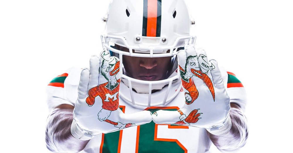 The University of Miami unveiled some sweet throwback uniforms this week, taking social media by storm. Photo credit: @CanesFootball
