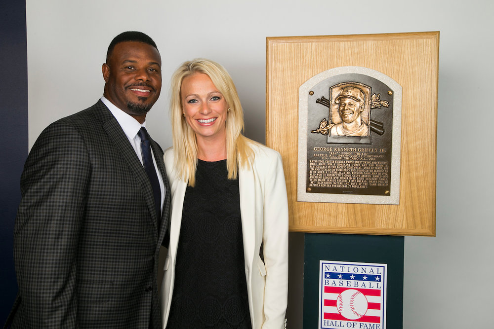 """Lincoln, right, said planning the Hall of Fame trip and Number Retirement Ceremony for her childhood hero, Ken Griffey, Jr. was """"surreal."""" Photo via courtesy of Mandy Lincoln and the Seattle Mariners."""