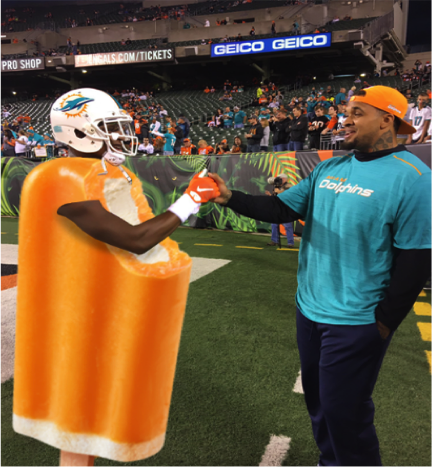"""The Miami Dolphins were looking pretty delicious in their Color orange """"Crush"""" unis.Photo vis USA Today"""