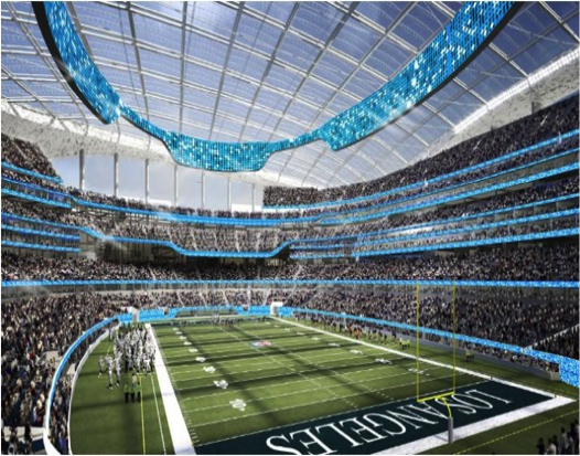 When finished, the Rams new stadium in Inglewood will be one of the largest in the NFL. Photo via CNN
