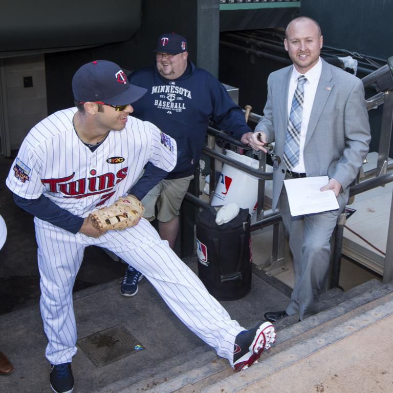 Heydt, shown with the Twins, created a position for himself within the organization. Image via Andrew Heydt