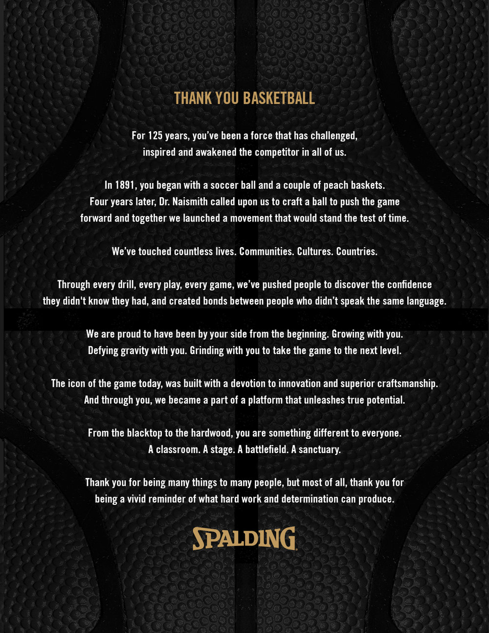Spalding hopes to build emotion for their campaign with their open letter to the game of basketball. Image via Spalding