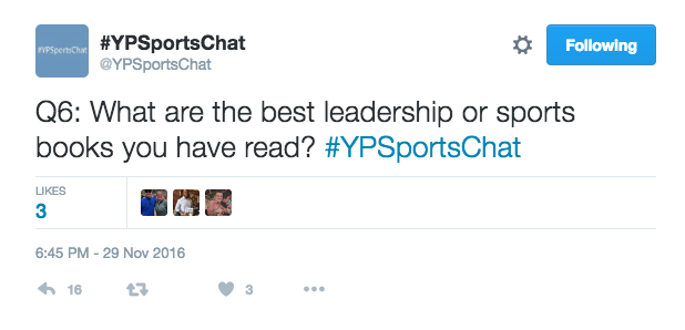 @YPSportsChat has a weekly twitter chat, Tuesdays 9PM EST. Image via Dawon Baker