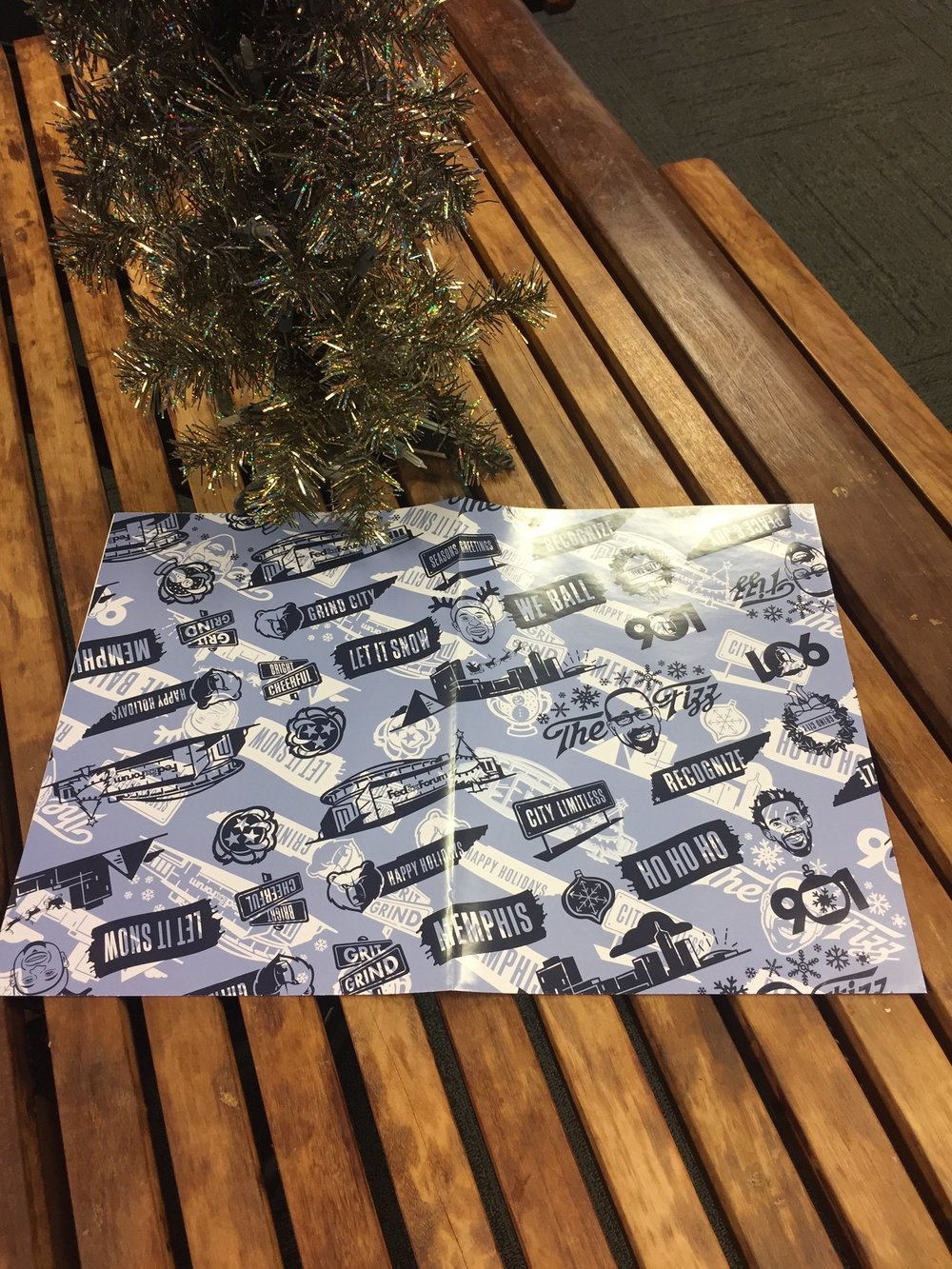 The Memphis Grizzlies gave away this wrapping paper before their 12/20 game against the Celtics. Photo via @memgrizz Twitter.