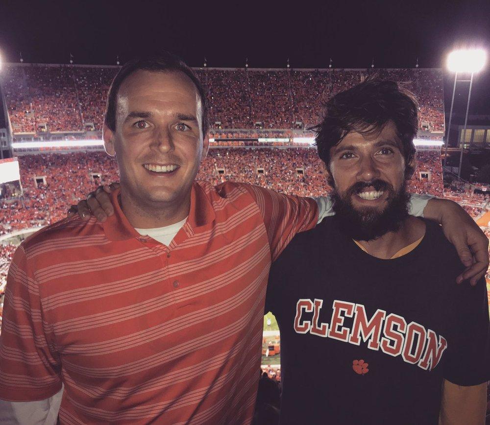 Yoho (left) received his master's degree in higher education from Clemson in 2011. (Photo via Miller Yoho)