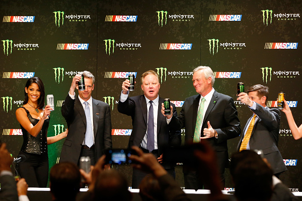 NASCAR CEO Brian France and Monster Energy Chief Marketing Officer Mark Hall finalize the sport's newest deal. (Photo via gettyimages.com)