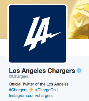 "The LA Chargers surprised the sports world with an interesting choice of ""temporary"" logo. Image via Twitter"