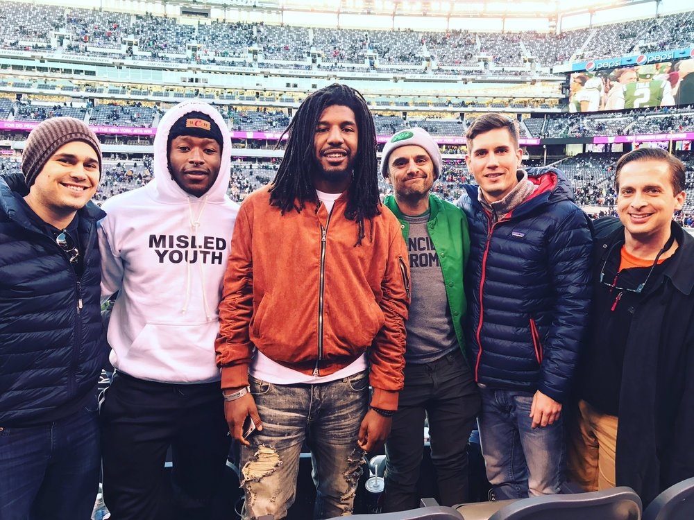 VaynerSports with clients Alvin Kamara and Jalen Reeves-Maybin (from left to right: AJ, Kamara, Reeves-Maybin, Gary, McLaughlin, Williams) Image via McLaughlin