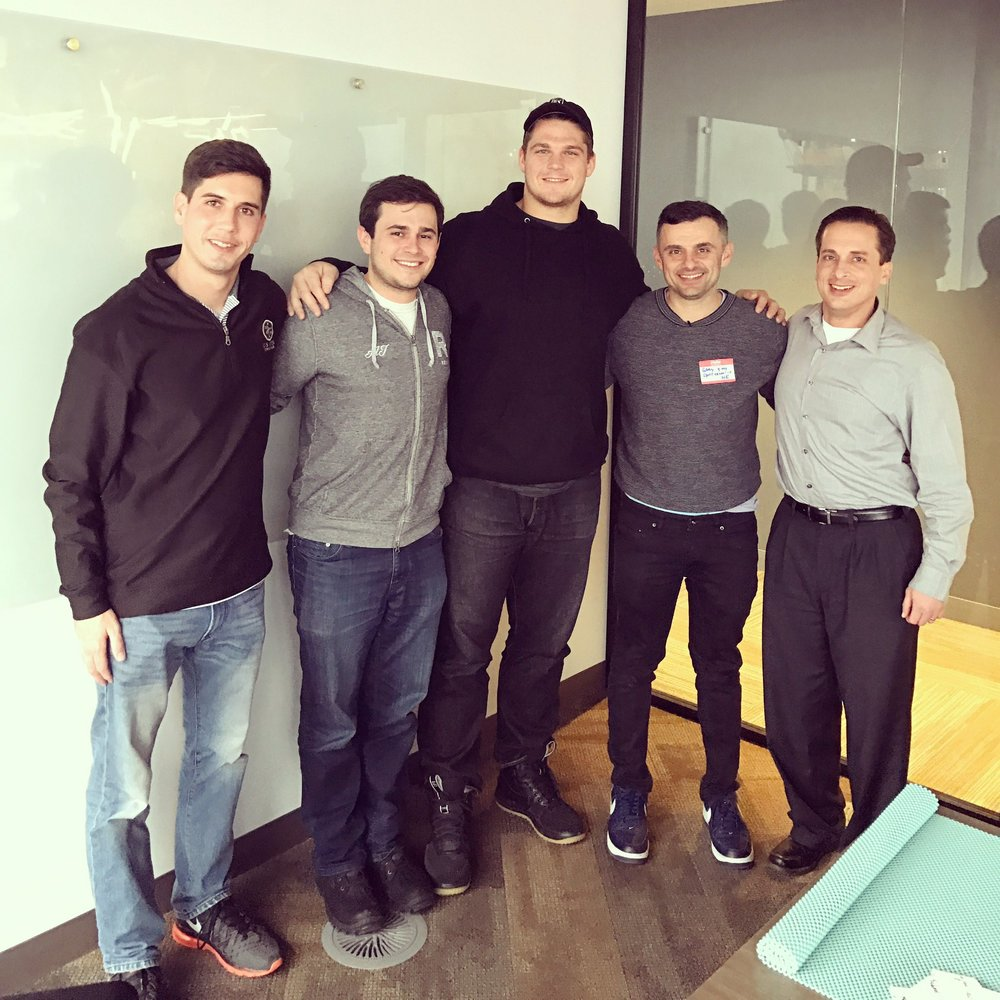 VaynerSports and client Jon Toth (from left to right: McLaughlin, AJ, Toth, Gary, Williams) Image via McLaughlin