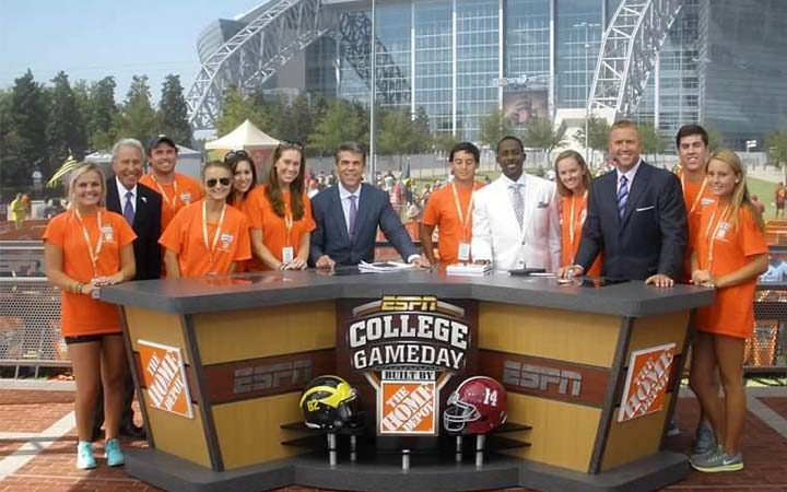 SMU Sport Management students working on the set of ESPN's College Gameday. Photo via SMU Sport Management